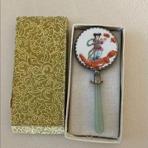 Antique Porcelain & Jade Mirror